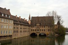 Vista dal ponte di Museumbrucke a Norimberga Fotografia Stock