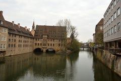 Vista dal ponte di Museumbrucke a Norimberga Immagine Stock