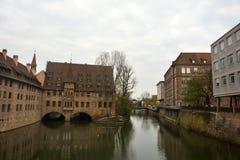 Vista dal ponte di Museumbrucke a Norimberga Fotografia Stock Libera da Diritti
