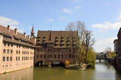 Vista dal ponte di Museumbrucke a Norimberga Fotografie Stock Libere da Diritti
