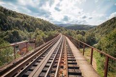 Vista dal ponte ferroviario in Yaremche l'ucraina fotografia stock