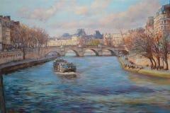 Vista dal ponte sopra la Senna a Parigi, pittura a olio Fotografie Stock