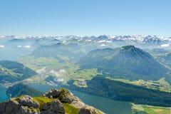 Vista dal supporto Pilatus sulle alpi svizzere Immagine Stock Libera da Diritti