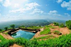 Vista dal supporto Sigiriya, Sri Lanka (Ceylon). Fotografie Stock Libere da Diritti