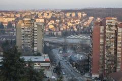 Vista dal terrazzo al comune di rakovica fotografia stock