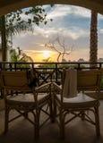 Vista dal terrazzo al tramonto in EL Sheikh Egypt di Sharm immagine stock