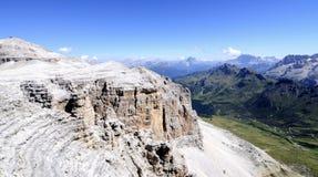 Vista dal trentino Italia Europa delle dolomia di sella del gruppo di pordoi del sass Fotografia Stock Libera da Diritti