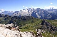Vista dal trentino Italia Europa delle dolomia di sella del gruppo di pordoi del sass Fotografie Stock