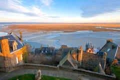 Vista dall'abbazia del Saint-Michel di Mont Fotografia Stock Libera da Diritti
