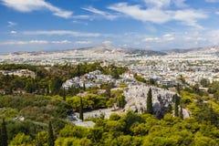 Vista dall'acropoli sopra la città di Atene, Grecia Fotografia Stock