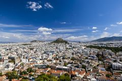 Vista dall'acropoli sopra la città di Atene, Grecia Fotografia Stock Libera da Diritti