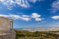 Vista dall'acropoli sopra la città di Atene, Grecia Fotografie Stock Libere da Diritti