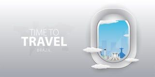 Vista dall'aeroplano Finestra di volo brazil Insegna piana di vettore di web illustrazione vettoriale
