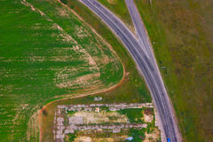 Vista dall'aeroplano sui campi Fotografia Stock