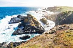 Vista dall'allerta di Southpoint da oscillare nell'oceano al Nobbies, Phillip Island, Victoria, Australia Fotografia Stock Libera da Diritti