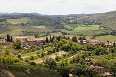 Vista dall'allerta a San Gimignano in toscany in Italia del countyside Fotografia Stock Libera da Diritti