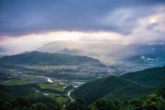 Vista dall'alta montagna Fotografia Stock