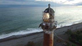 Vista dall'altezza del faro antico vicino alla linea costiera di Sukhumi in Abkhazia archivi video