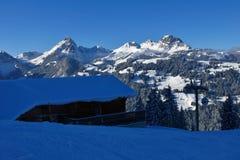 Vista dall'area dello sci di Wispile, Gstaad Immagine Stock