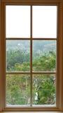 Vista dall'interno da una bella finestra tradizionale Fotografia Stock Libera da Diritti