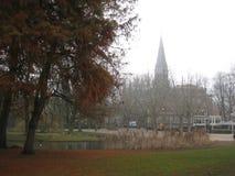 Vista dall'interno del Vondelpark, Amsterdam fotografia stock libera da diritti