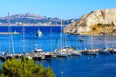 Vista dall'isola di du frioul, Marsiglia su fondo Fotografia Stock Libera da Diritti
