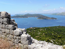 Vista dall'isola di Lopud Fotografia Stock