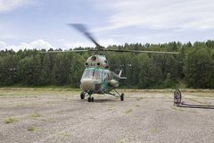 Vista dalla cabina di pilotaggio di un elicottero Immagini Stock
