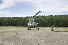 Vista dalla cabina di pilotaggio di un elicottero Fotografie Stock Libere da Diritti