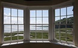 Vista dalla casa di estate del castello di Laugharne Fotografia Stock