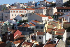 Vista dalla cima di Lisbona del centro Immagine Stock
