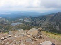 Vista dalla cima di sette laghi Rila - Sapareva Banya Immagini Stock Libere da Diritti