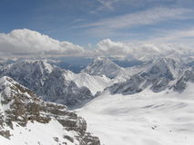Vista dalla cima di Zugspitze Immagini Stock Libere da Diritti