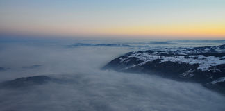 Vista dall'alpe di Rigi sul lago Zugo Fotografia Stock