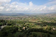 Vista dalla città di Orvieto alla valle Immagini Stock Libere da Diritti