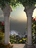 Vista dalla finestra del castello royalty illustrazione gratis