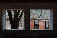 Vista dalla finestra di una casa abbandonata Immagine Stock