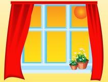 Finestra aperta con i fiori illustrazione vettoriale for Disegno di finestra aperta
