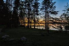 Vista dalla foresta nel lago Sukhodolskoe immagine stock