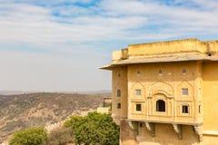 Vista dalla fortificazione di Nahargarh, Jaipur, Ragiastan, India fotografia stock libera da diritti