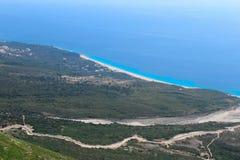 Vista dalla montagna al mare adriatico, Albania immagine stock