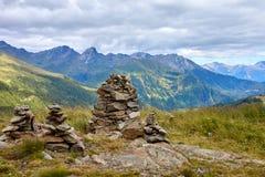 Vista dalla montagna in alpi austriache a Grossglockner su alpino Fotografia Stock Libera da Diritti