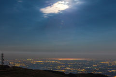 Vista dalla montagna della laguna di Venezia illuminata dalla luna Fotografia Stock Libera da Diritti