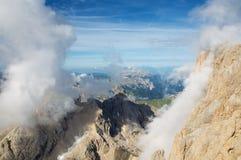 Vista dalla montagna di Marmolada, alpi, Italia Immagini Stock