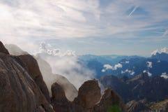 Vista dalla montagna di Marmolada, alpi, Italia Fotografia Stock