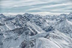 Vista dalla montagna di Nebelhorn, alpi bavaresi, Oberstdorf, GER Immagine Stock