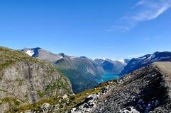 Vista dalla montagna Norvegia di Hoven fotografia stock