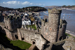 Vista dalla parte superiore del castello di Conwy Immagine Stock