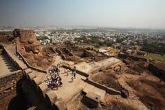 Vista dalla parte superiore della fortificazione di Golconda, Haidarabad Immagine Stock