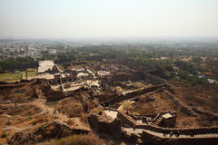 Vista dalla parte superiore della fortificazione di Golconda, Haidarabad Immagine Stock Libera da Diritti